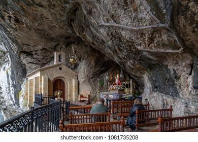 Covadonga, Asturias, Spain;01 23 2016: Chapel dedicated to the Santina in holy cave of Covadonga Asturias, Spain