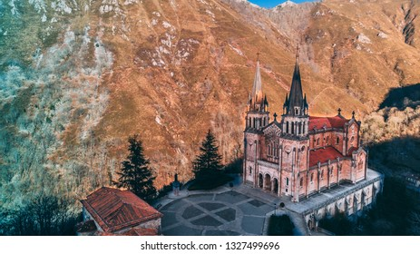 Covadonga Catholic cathedral sanctuary Basilica church in Asturias at Cangas de Onis Spain in the mountains on the sunrise sunset
