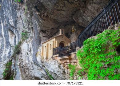 Covadonga chapel, Santa Cueva sanctuary, Asturias, Spain.