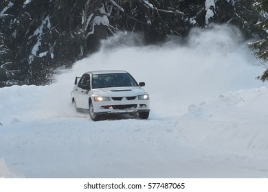 COVASNA, ROMANIA - January 14-15, 2017: Unknown pilots competing in Winter Rally Covasna 2017 on January 14-15, in Covasna, Romanaia