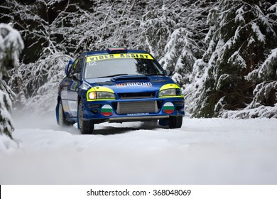 COVASNA, ROMANIA - January 16: Unknown pilots competing in Winter Rally Covasna 2016 on January 16, in Covasna, Romanaia