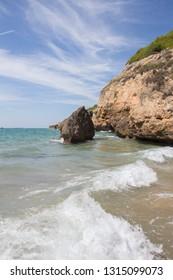 cove of a beach. Tarragona. Jovera. Altafulla Tamarit Mediterranean Sea. Catalonia, Spain. Holidays. Good weather.