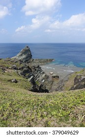 cove view from a lighthouse called oganzaki in Ishigaki island, japan