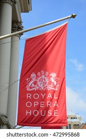 Covent Garden London England, United Kingdom - August 16, 2016: Red Flag of Royal Opera House