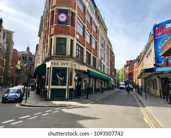 COVENT GARDEN, LONDON - MAY 18, 2018: The Ivy restaurant in Covent Garden, Westminster, London, UK.