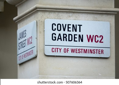 Covent Garden Street sign in the City of Westminster - LONDON / ENGLAND - SEPTEMBER 23, 2016