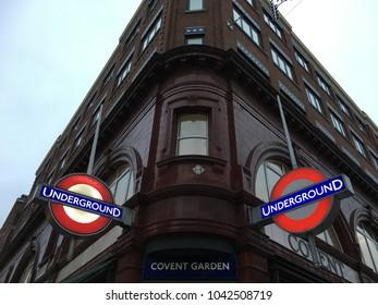 Covent Garden,London,England,14 November 2017; underground tube station sign board start light on in the evening time