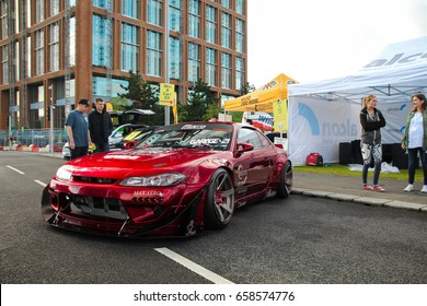 Coventry, England - 04.06.17: drift car Nissan Silvia S15 with lots of modifications parked at Coventry MotoFest.