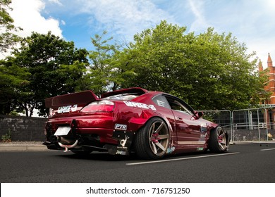 Coventry, England - 04.06.17: Nissan Silvia S15 drift car getting ready to a test run on a MotoFest event, held annually in Coventry, West Midlands. The car is heavily modified and customized.