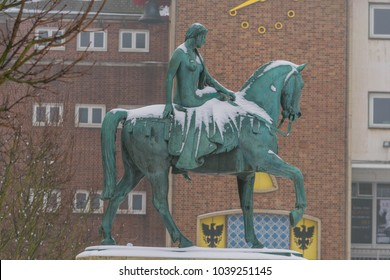 COVENTRY, ENGLAND, UK - 3rd March 2018: Lady Godiva Statue at Broadgate in the city centre, Coventry, West Midlands, England, UK, Western Europe.