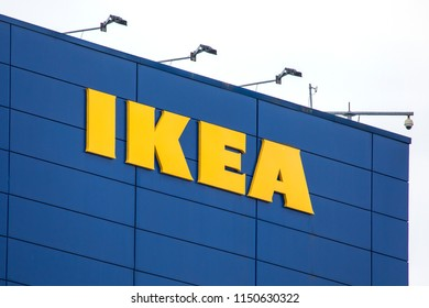 COVENTRY, UK - JULY 26TH 2018: The IKEA sign on the exterior of one of their stores in the UK, on 26th July 2018.