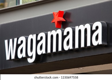 COVENTRY, UK - JULY 26TH 2018: The logo above the entrance to the Wagamama restaurant in Coventry city centre, UK, on 26th July 2018.