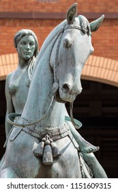 Coventry, UK - July 26th 2018: Statue of Lady Godiva in the city of Coventry, UK.  Lady Godiva was a noblewoman who according to legend, rode naked upon her horse through the streets of Coventry.