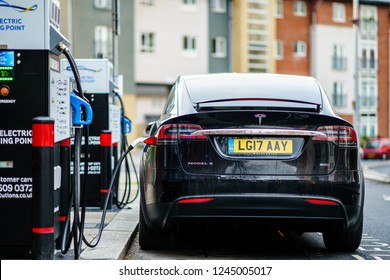 Coventry, UK - November 25th, 2018 : Electric Car Tesla Model X is charging on street charge station in UK.