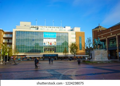 Coventry, UK - November 3, 2018: Town centre of Coventry, Lady Godiva statue and Primark building