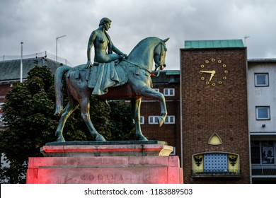 Coventry, UK - September 14th, 2018 : Coventry Town Centre Lady Godiva Statue