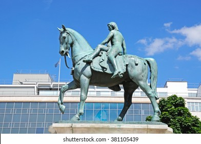 COVENTRY, UNITED KINGDOM - JUNE 4, 2015 - Lady Godiva Statue at Broadgate in the city centre, Coventry, West Midlands, England, UK, Western Europe, June 4, 2015.