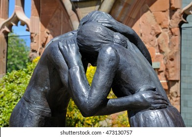 COVENTRY, UNITED KINGDOM - JUNE 4, 2015 - Reconciliation statue inside the ruins of the old Cathedral, Coventry, West Midlands, England, UK, Western Europe, June 4, 2015.