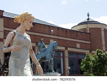Coventry, Warwickshire, UK - August 9, 2014: Lady Godiva Puppet homecoming parade outside Cathedral Lanes shopping centre in Coventry