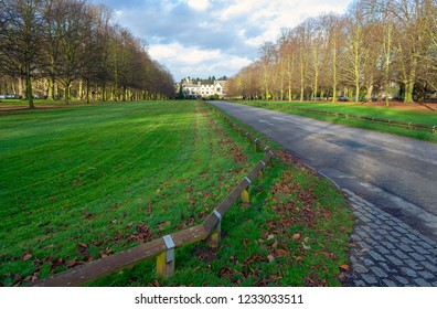 Coventry, Warwickshire, UK - December 29, 2007: Looking down driveway towards Coombe Abbey hotel and country park in Warwickshire on a winter day