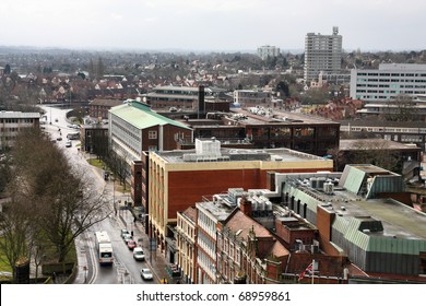 Coventry in West Midlands, England. City aerial view from ruined cathedral tower.