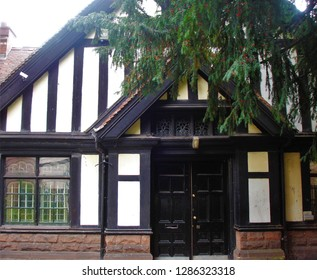Coventry, West Midlands / United Kingdom - July 2011: Tudor-style Old Bablake Boys School in Coventry