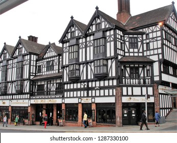 Coventry, West Midlands / United Kingdom - September 2011: Timber frame houses in downtown Coventry