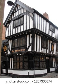 Coventry, West Midlands / United Kingdom - September 2011: Timber framed restaurant in downtown Coventry