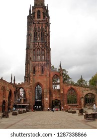 Coventry, West Midlands / United Kingdom - September 2011: Old Coventry Cathedral in downtown Coventry