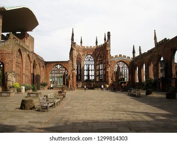 Coventry, West Midlands / United Kingdom - September 2012: Old Coventry Cathedral in downtown Coventry
