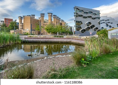 Coventry,England on 15th Aug 2018: Coventry University Lanchester Library is the largest deep plan naturally ventilated building in Europe, designed by architects Short & Associates at a cost of £19M