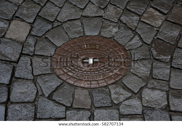 Cover of the drain in Lausanne, Switzerland.