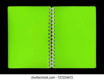 Cover of a green notebook on a black background