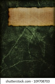Cover of a mysterious old book. Dark and magical. Green.