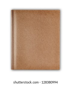cover old style recycle brown notebook isolated on white background