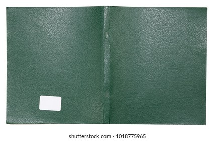 The cover of an ordinary student's notebook is made of green  artificial leather. Isolated on white with patch