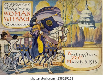 Cover of program for the National American Women's Suffrage Association procession, a woman, in elaborate attire, with cape, blowing long horn, with U.S. Capitol, Washington D.C., 3/3/1913.
