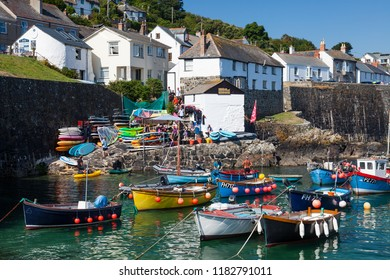 COVERACK CORNWALL UK - August 5th 2018: The popular tourist destination of Coverack Harbour Cornwall England UK
