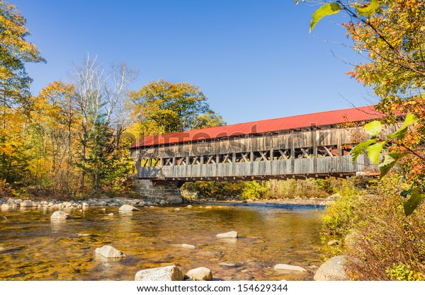 Covered Bridge and Fall Colors in New Hampshire