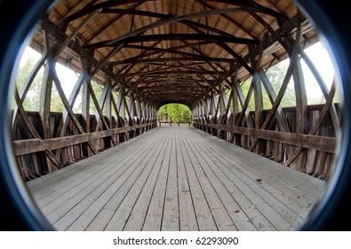 Covered bridge interior shot with semi fish-eye lens