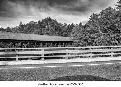 Covered Bridge in New England during foliage season.