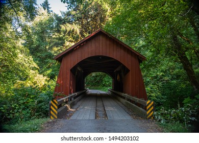 A Covered Bridge on the North Fork Yachats River, on the central coast of Oregon