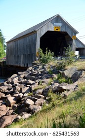 Covered Bridge at Orange Hill, New Brunswick, Canada, vertical