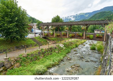 Covered bridge over the river Doron in Beaufort (Savoie), France