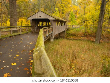 Covered bridge under fall color