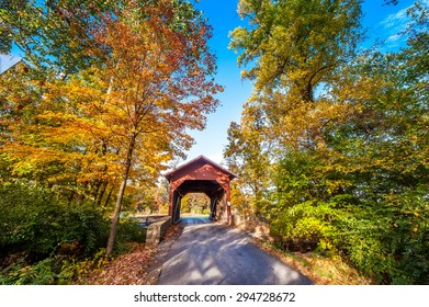 Covered bridge in Western Maryland during Autumn