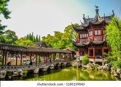 Covered Bridge in the Yu Yuan Tea Garden in Shanghai China.