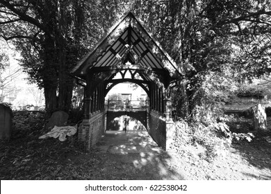 A covered entrance to a graveyard in Horsham, West Sussex.