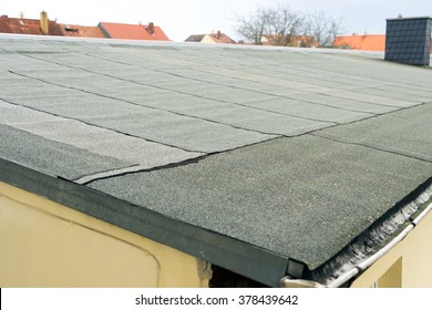 covered flat roof with roofing felt / Roof