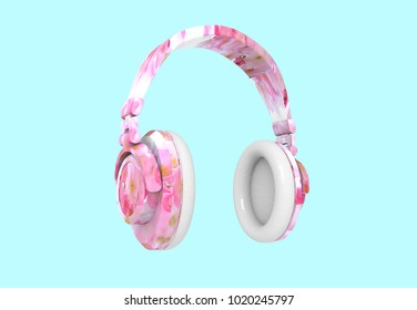 covered with flowers headphone isolated background 3d render